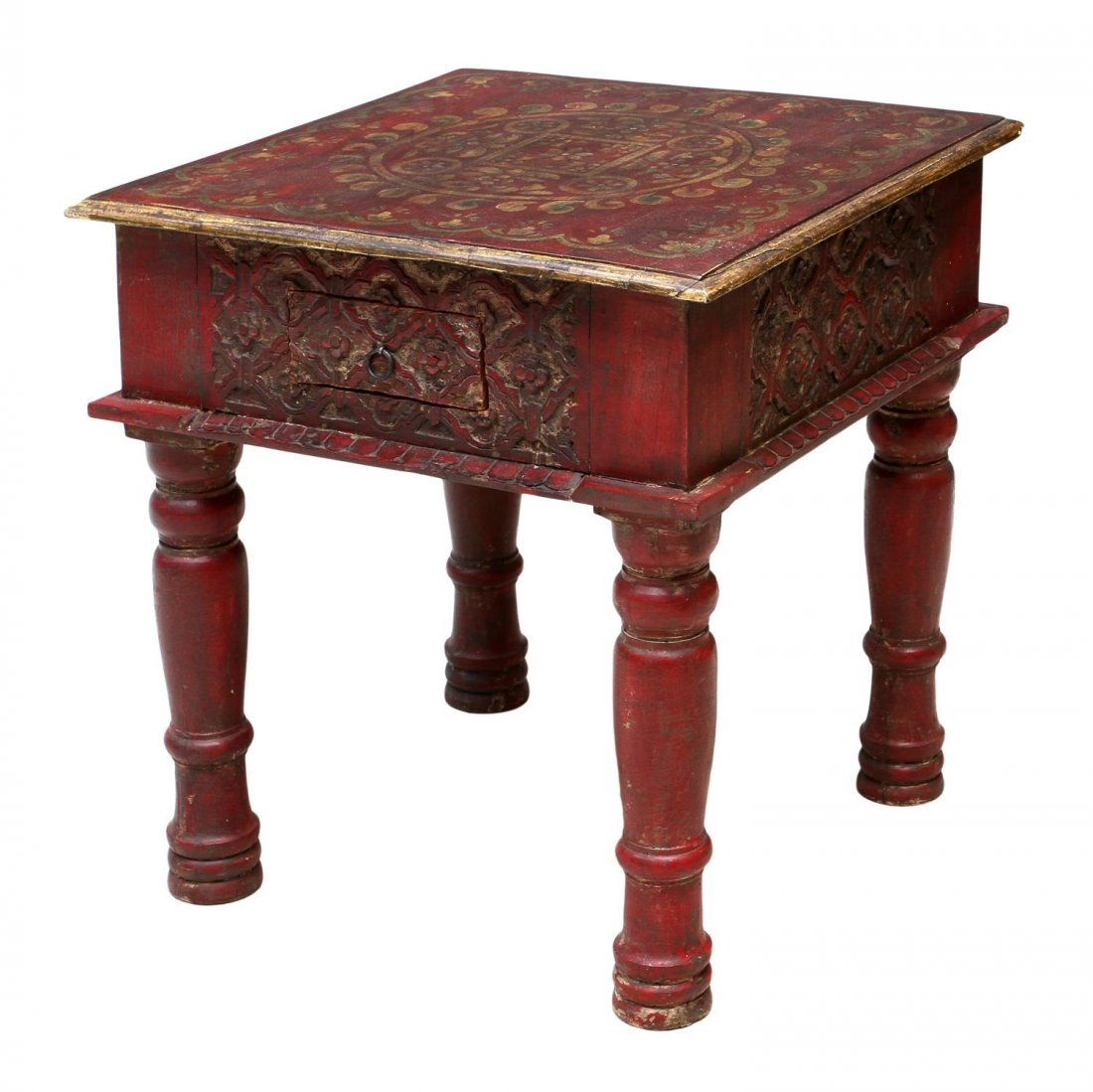 FLORAL DECORATED OCCASIONAL TABLE IN RED PAINT