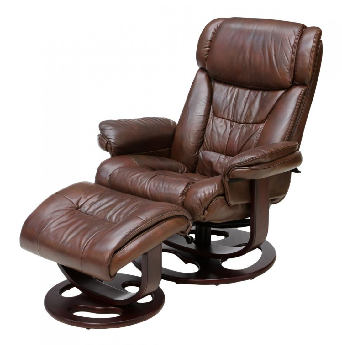 LANE RECLINING SWIVEL LEATHER ARMCHAIR & OTTOMAN