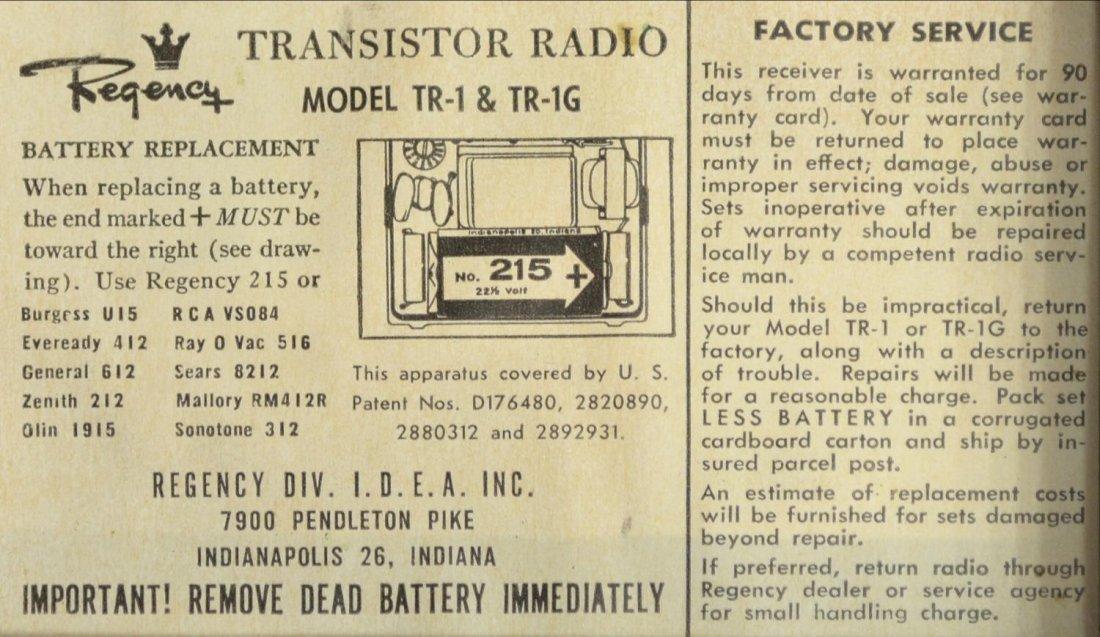 1950'S MICHAEL TODD REGENCY TRANSISTOR RADIO BOOK - 8