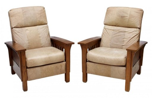 Magnificent 2 Lane Leather Reclining Mission Style Arm Chair Bralicious Painted Fabric Chair Ideas Braliciousco