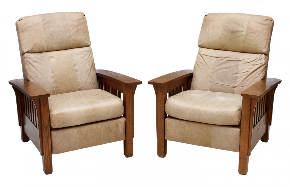 (2) LANE LEATHER RECLINING MISSION STYLE ARM CHAIR