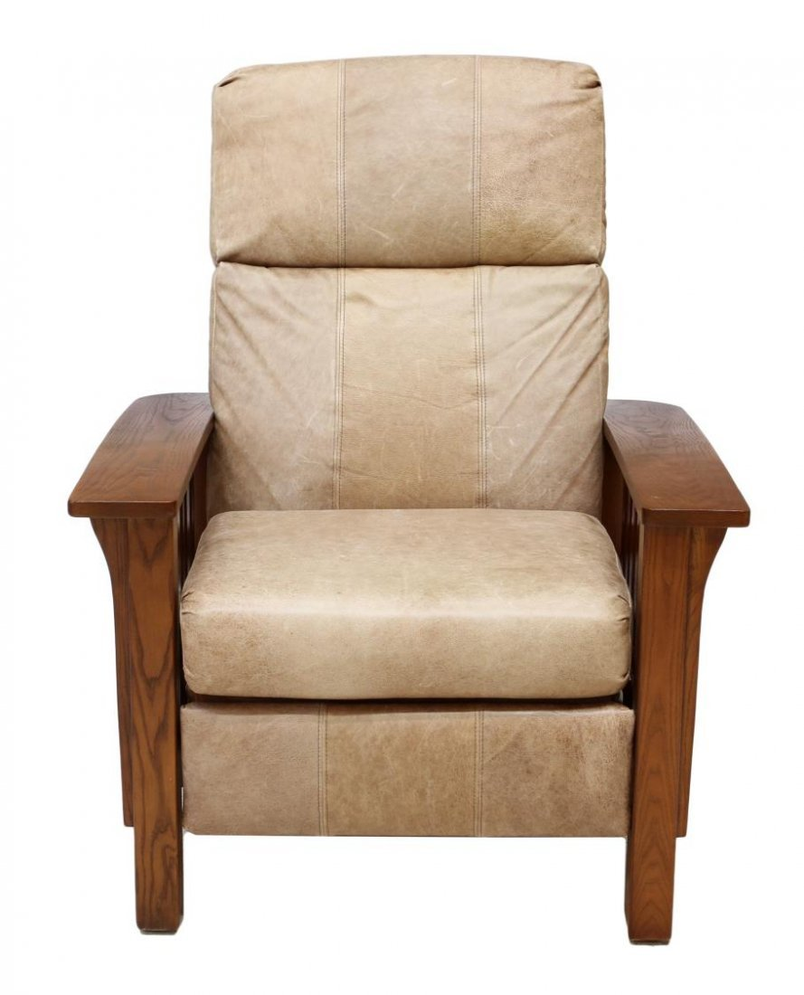 (2) LANE LEATHER RECLINING MISSION STYLE ARM CHAIR - 3