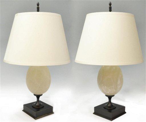 Pair Restoration Hardware Empire Egg Lamps