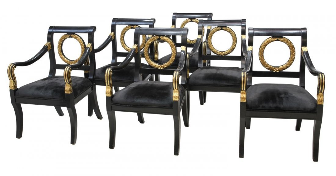 (6) FRENCH EMPIRE STYLE PARCEL GILT LACQUER CHAIRS