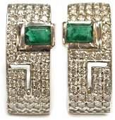 PAIR LADIES 14KT GOLD EMERALD DIAMOND EARRINGS