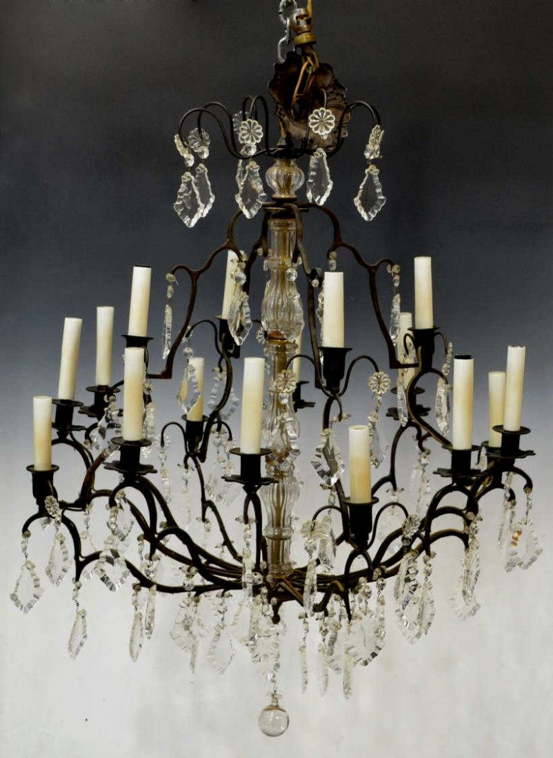 SIXTEEN-LIGHT FACETED CRYSTAL PRISM CHANDELIER