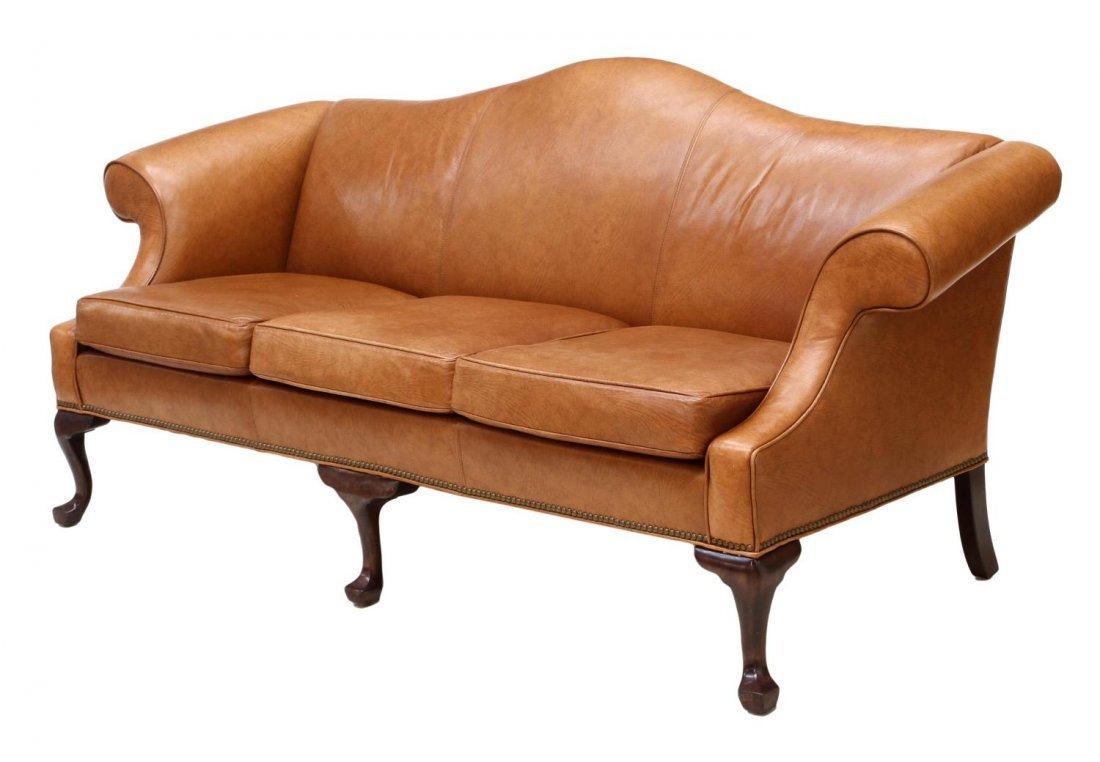 Ethan Allen Camel Back Leather Sofa Lot 0356