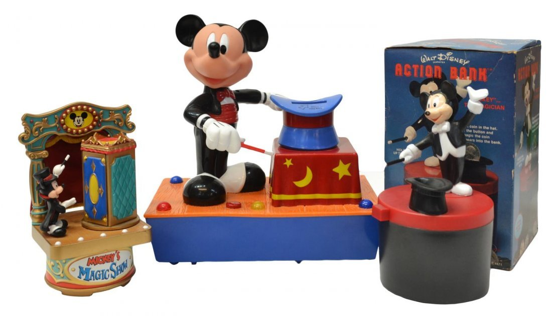 (3) MICKEY MOUSE MUSIC BOX, TALKING BANK TOYS