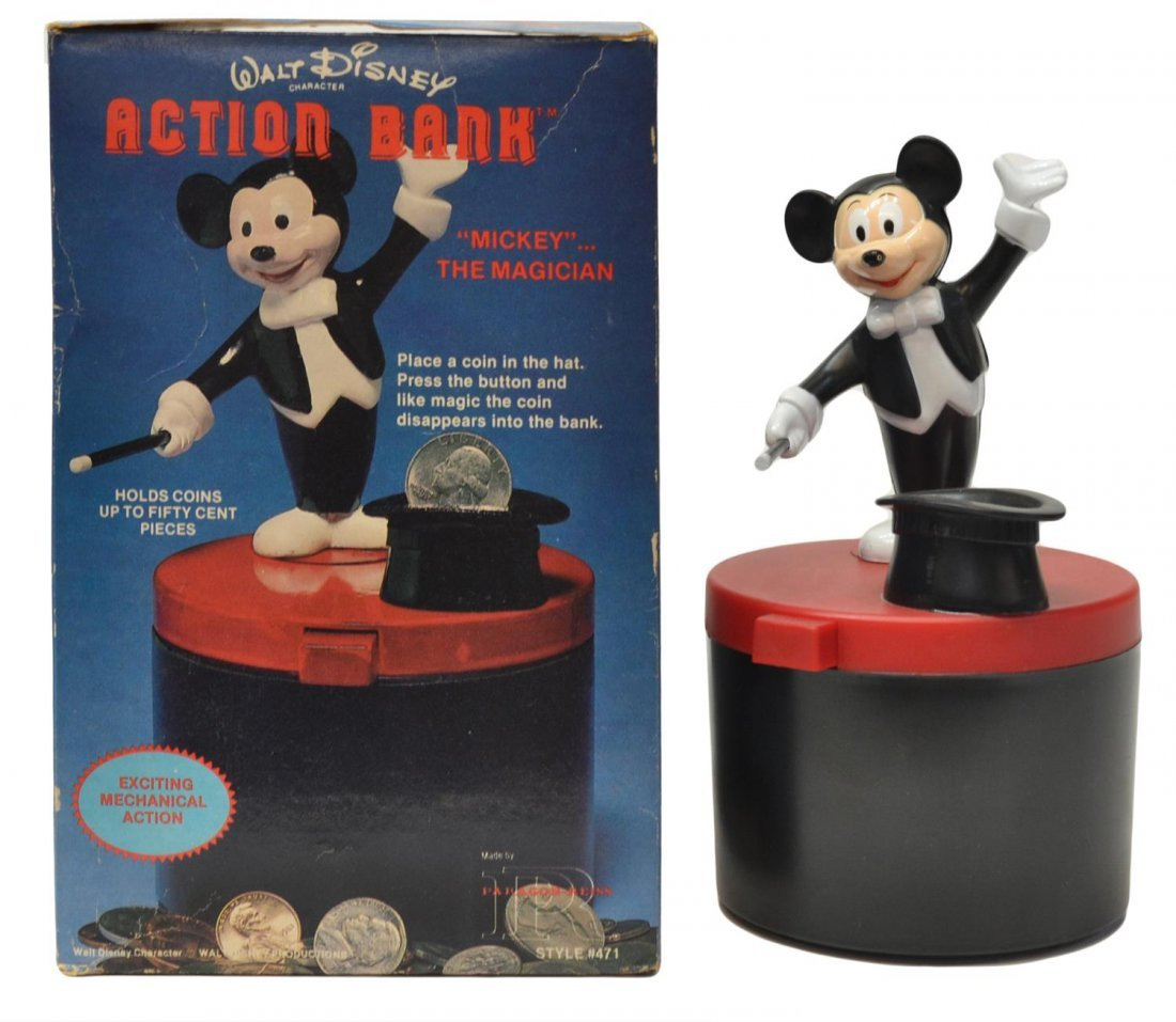 (3) MICKEY MOUSE MUSIC BOX, TALKING BANK TOYS - 8