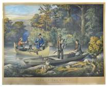 LITHOGRAPHCURRIER  IVES RETURNING TO CAMP 1860