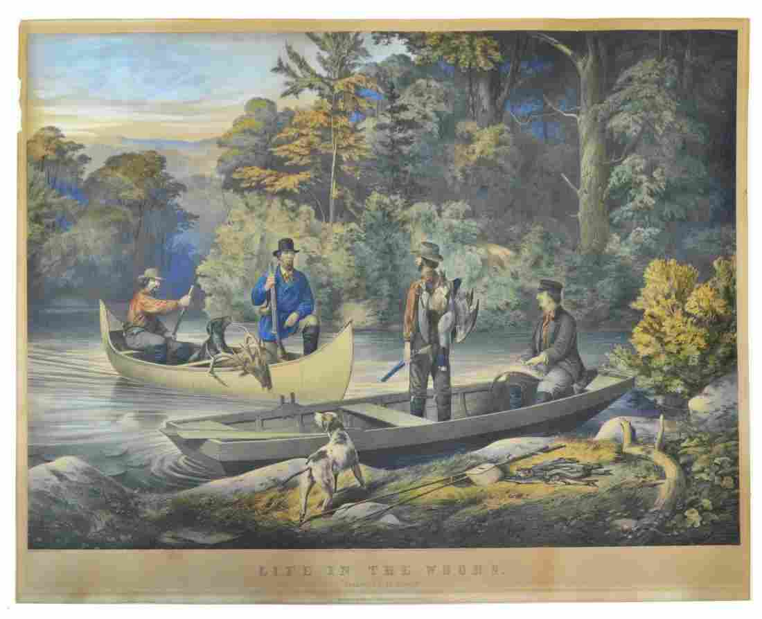 LITHOGRAPH,CURRIER & IVES, RETURNING TO CAMP, 1860