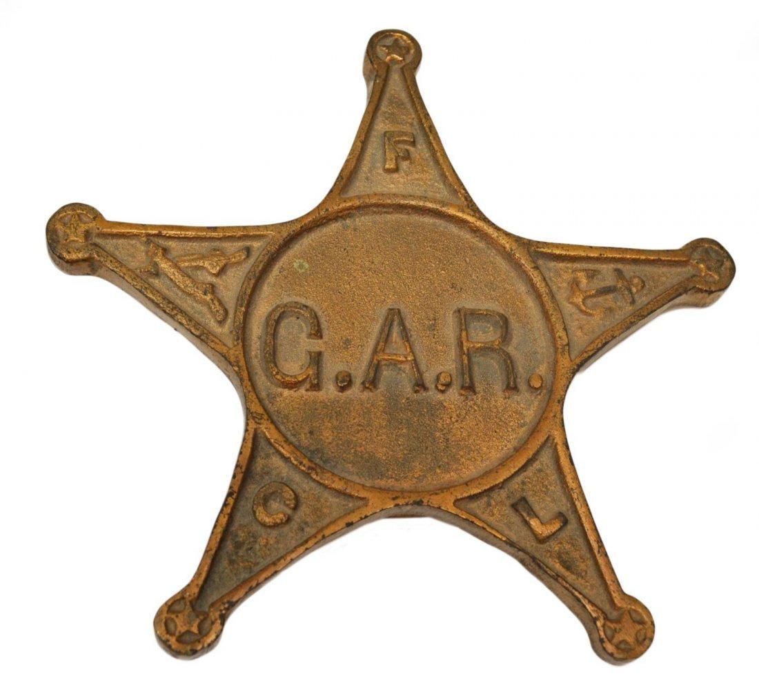 U.S. CIVIL WAR BRASS G.A.R. GRAVE MARKER