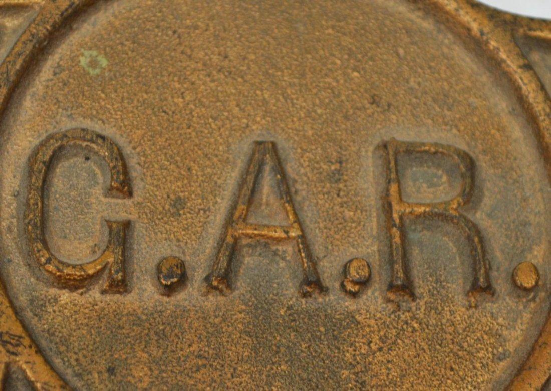 U.S. CIVIL WAR BRASS G.A.R. GRAVE MARKER - 2