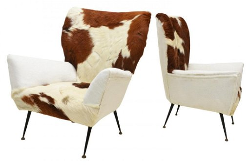 Terrific Pair Italian Mid Century Modern Cowhide Chairs Evergreenethics Interior Chair Design Evergreenethicsorg