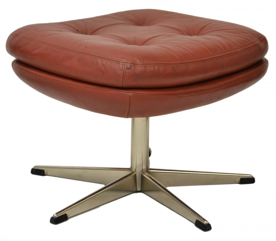 DANISH MID-CENTURY MODERN LEATHER & CHROME STOOL