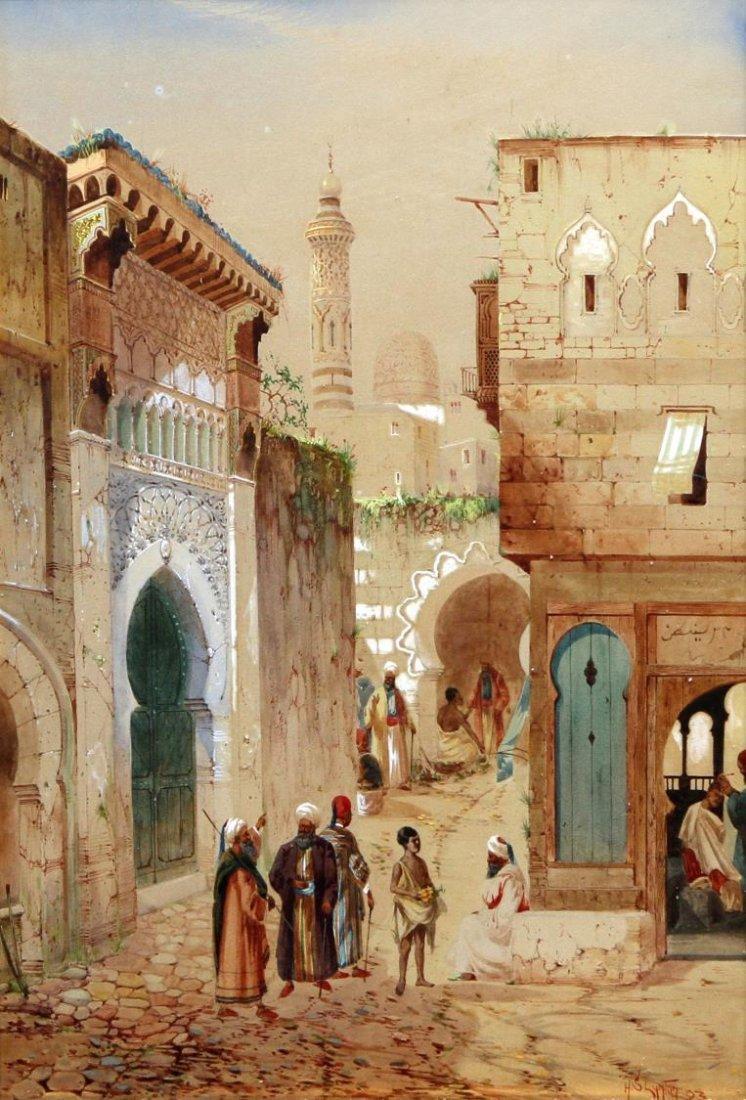 WATERCOLOR, ARABIAN STREET SCENE, H.S. LYNTON