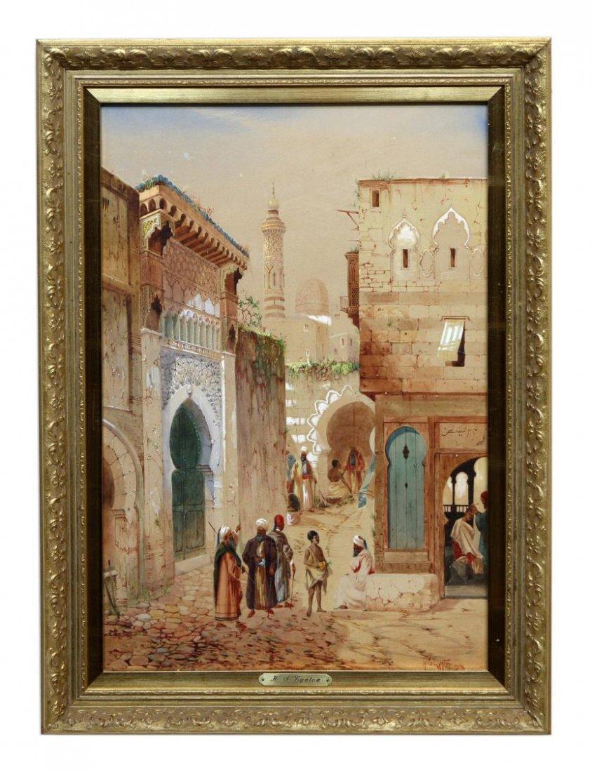 WATERCOLOR, ARABIAN STREET SCENE, H.S. LYNTON - 2