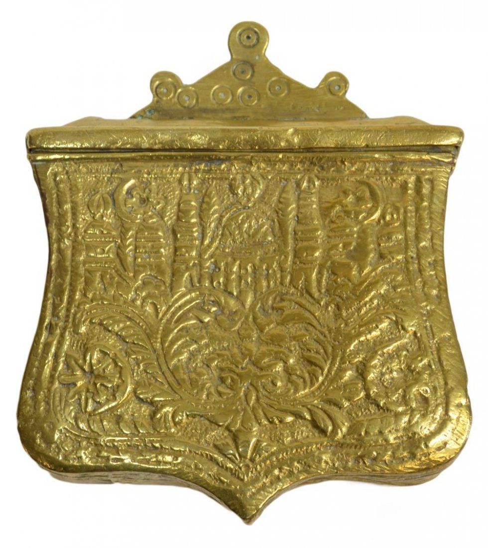 ANTIQUE MIDDLE EASTERN BRASS CARTRIDGE AMMO BOX