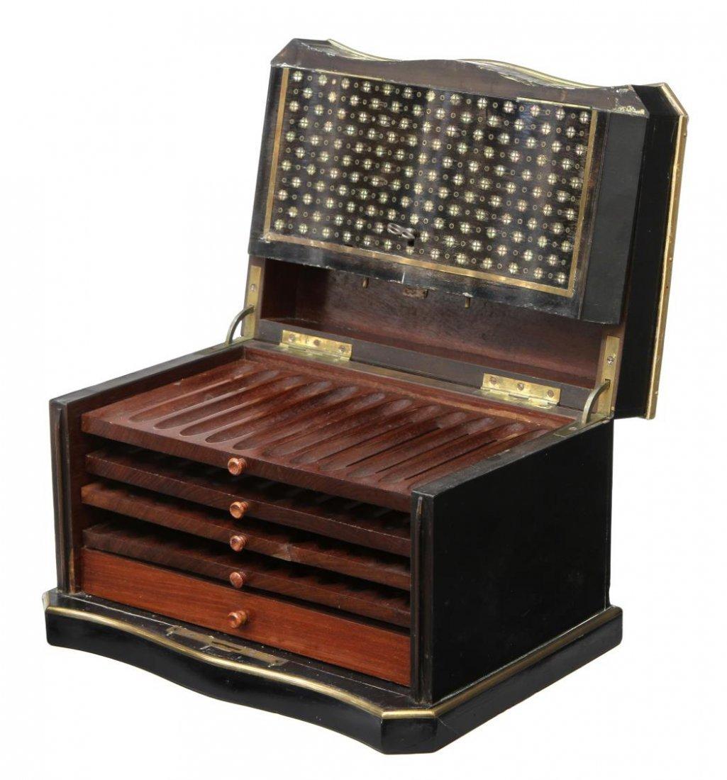 NAPOLEON III INLAID EBONIZED FITTED CIGAR BOX