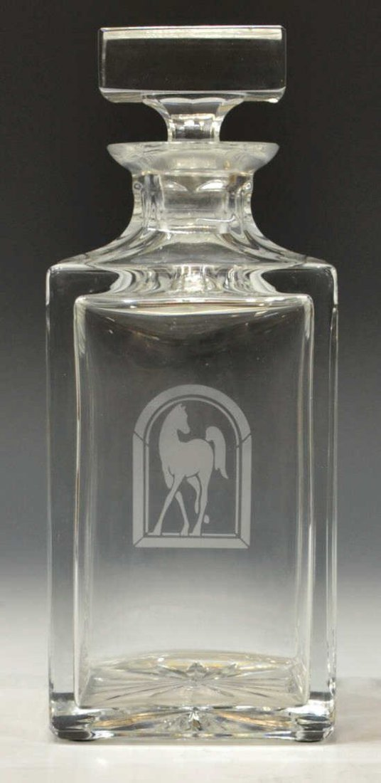 COLORLESS ETCHED GLASS DECANTER, HORSE