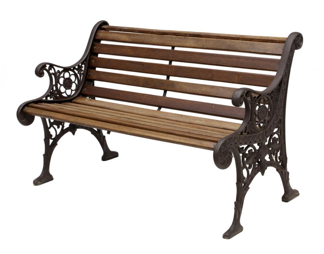 Vintage Cast Iron Wood Garden Bench