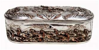 ANTIQUE SILVERPLATE RELIEF EQUESTRIAN DRESSER BOX