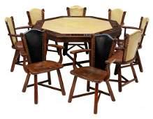 (9) ROMWEBER HORSE HEAD CHAIRS & POKER TABLE