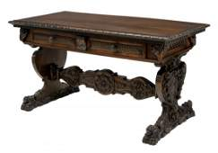 HIGHLY CARVED SPANISH LIBRARY TABLE DESK