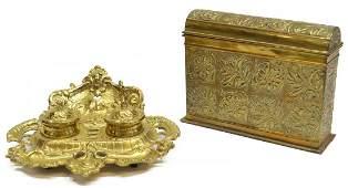 (2)ANTIQUE REPOUSSE BRASS LETTER BOX & AN INKSTAND