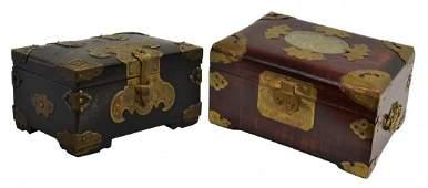 (2) CHINESE BRASS BOUND, JADE & WOOD DRESSER BOXES