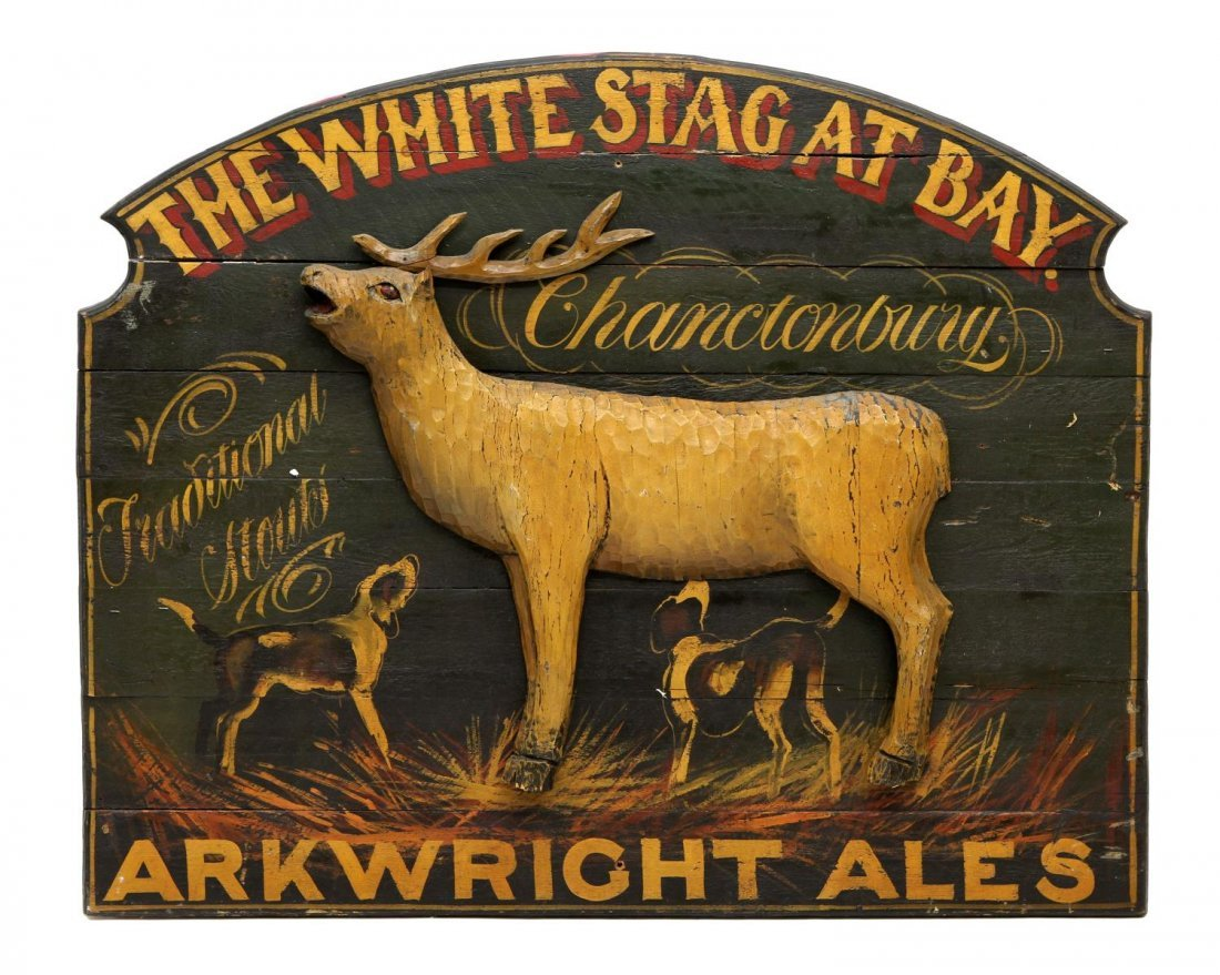 "ENGLISH PUB SIGN, ""THE WHITE STAG AT BAY"""