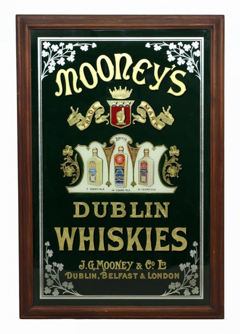 LARGE MIRRORED BAR SIGN MOONEYS WHISKEY
