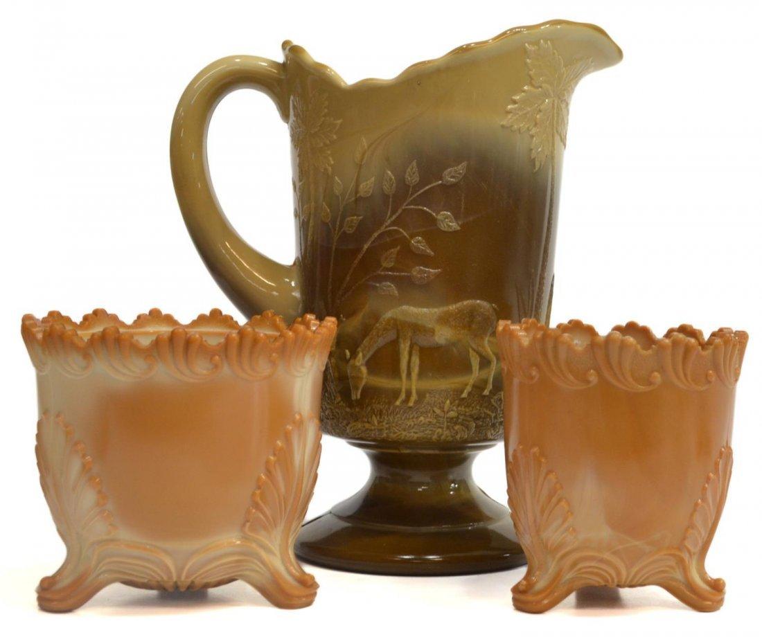 (3) GREENTOWN CHOCOLATE GLASS PITCHER & SPOONER