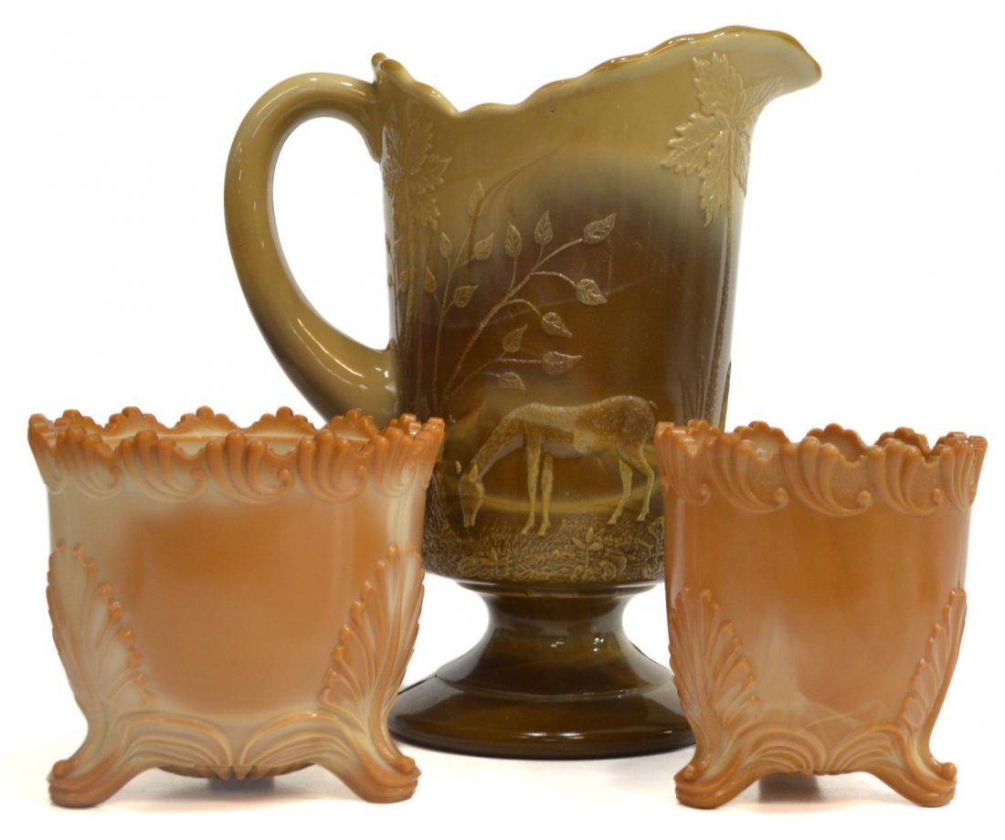 (3) GREENTOWN CHOCOLATE GLASS PITCHER & SPOONER