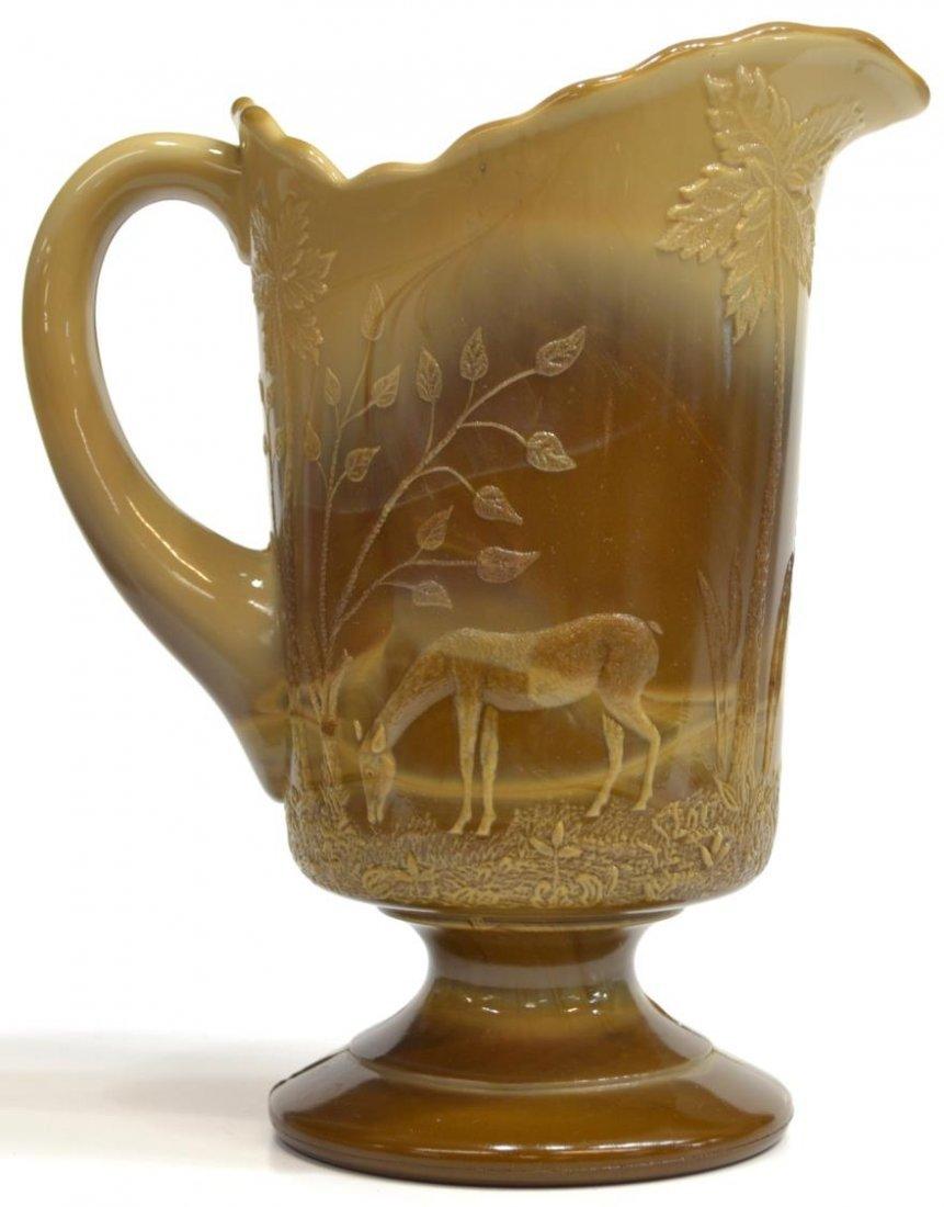 (3) GREENTOWN CHOCOLATE GLASS PITCHER & SPOONER - 2