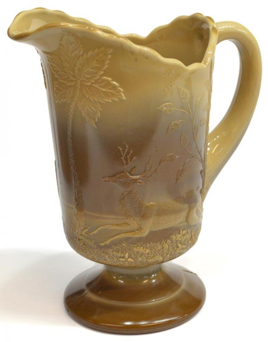(3) GREENTOWN CHOCOLATE GLASS PITCHER & SPOONER - 3