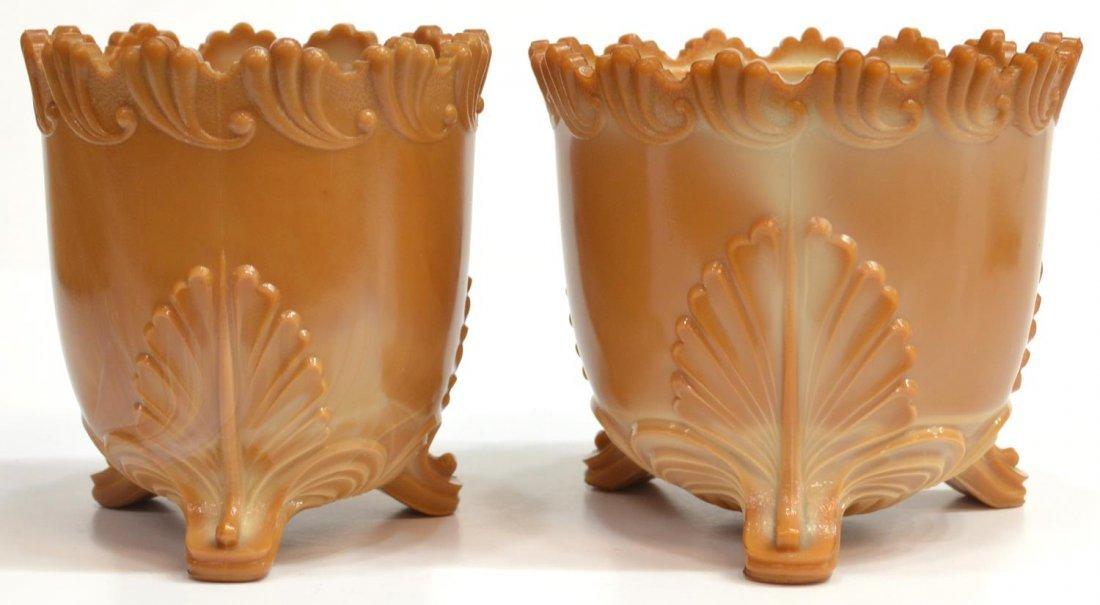 (3) GREENTOWN CHOCOLATE GLASS PITCHER & SPOONER - 6