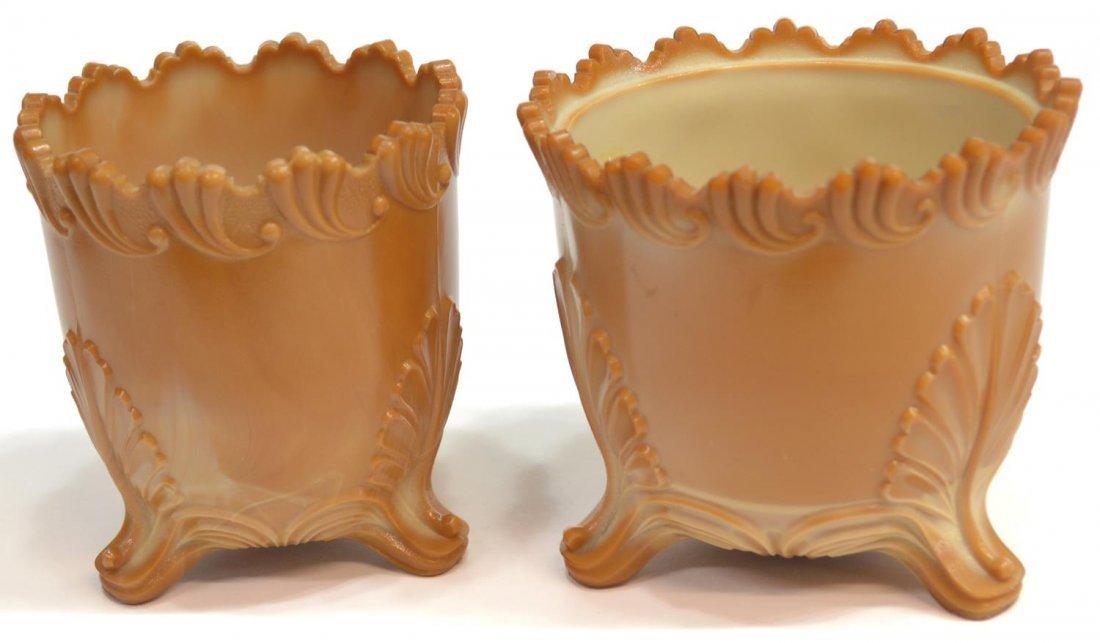 (3) GREENTOWN CHOCOLATE GLASS PITCHER & SPOONER - 7