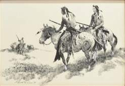 WESTERN DRAWING GERALD McCANN 1916 INDIANS