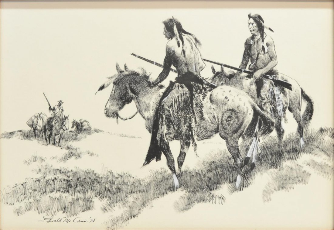 WESTERN DRAWING, GERALD McCANN (1916), INDIANS