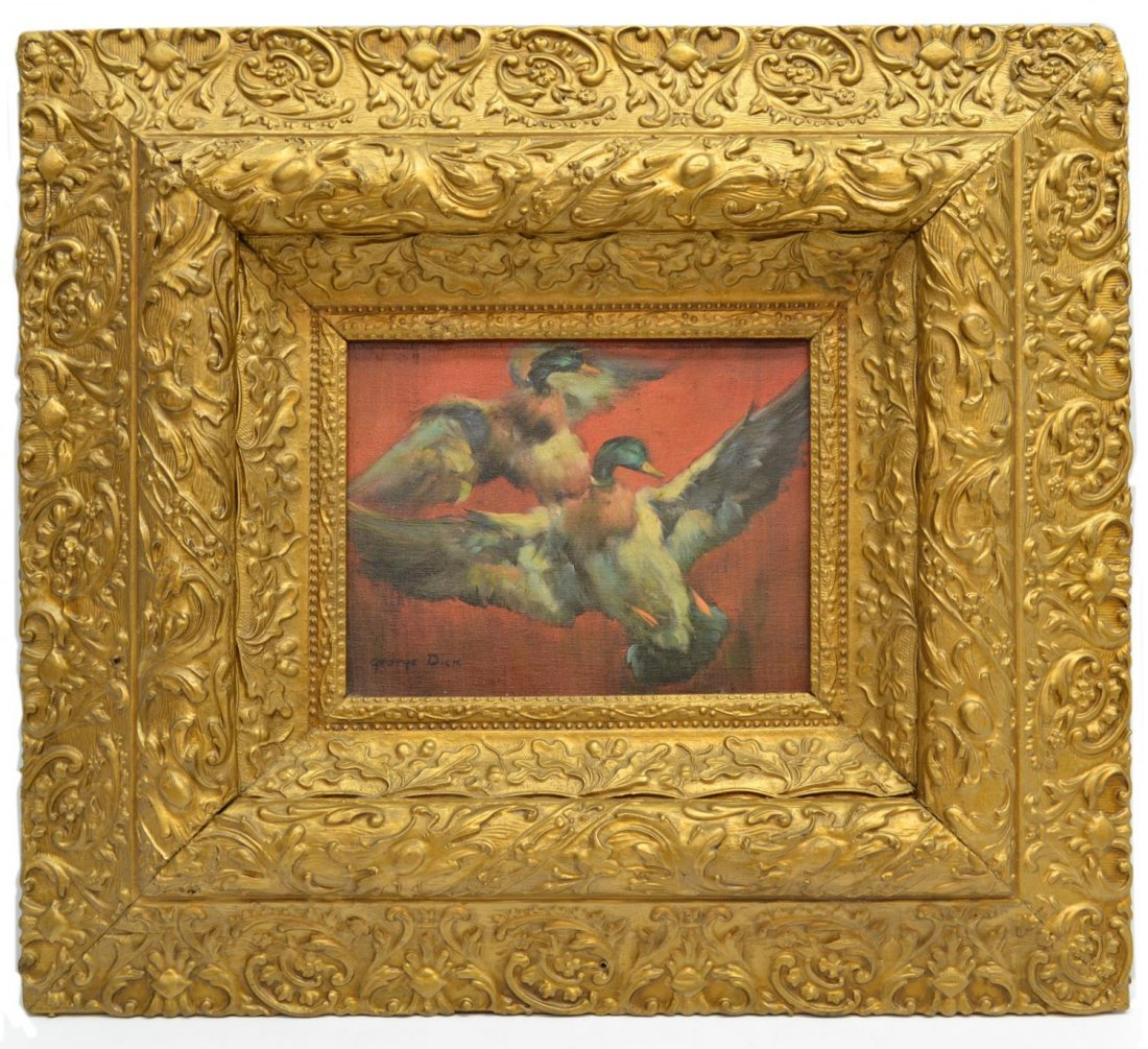 FRAMED PAINTING, TWO FLYING DUCKS, GEORGE DICK