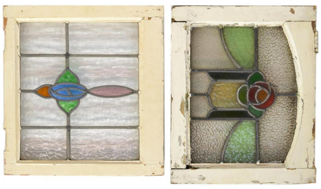 (PAIR) ENGLISH STAINED & LEADED GLASS WINDOWS