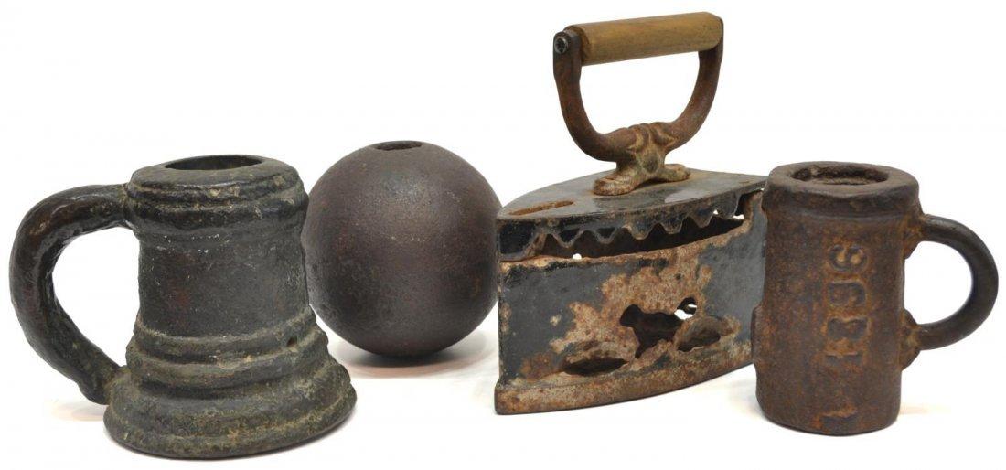 (4) ANTIQUE CANNON BALL, BRONZE THUNDER MUG, IRON