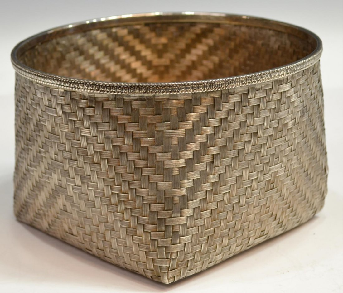 LARGE TANE MEXICO CITY 925 STERLING WOVEN BASKET