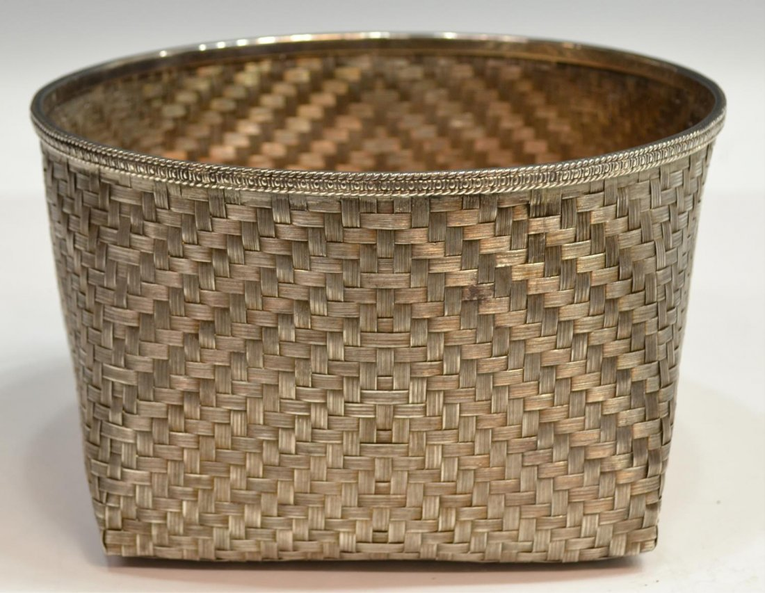 LARGE TANE MEXICO CITY 925 STERLING WOVEN BASKET - 2