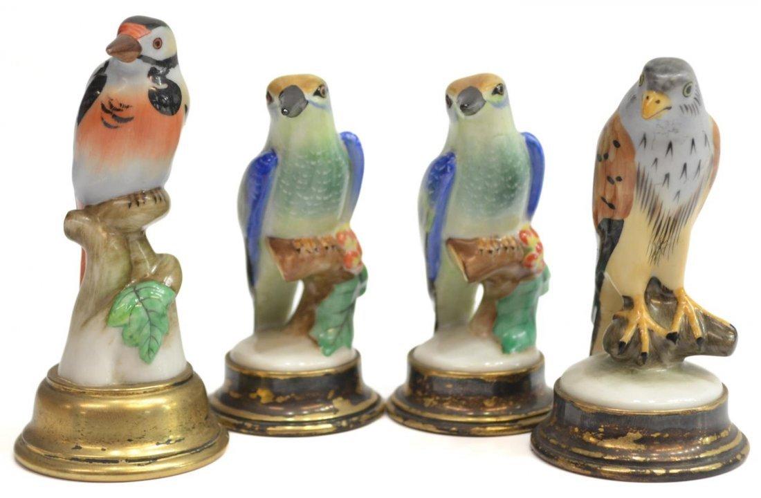 (4) HEREND PORCELAIN BIRDS ON SILVER BASES