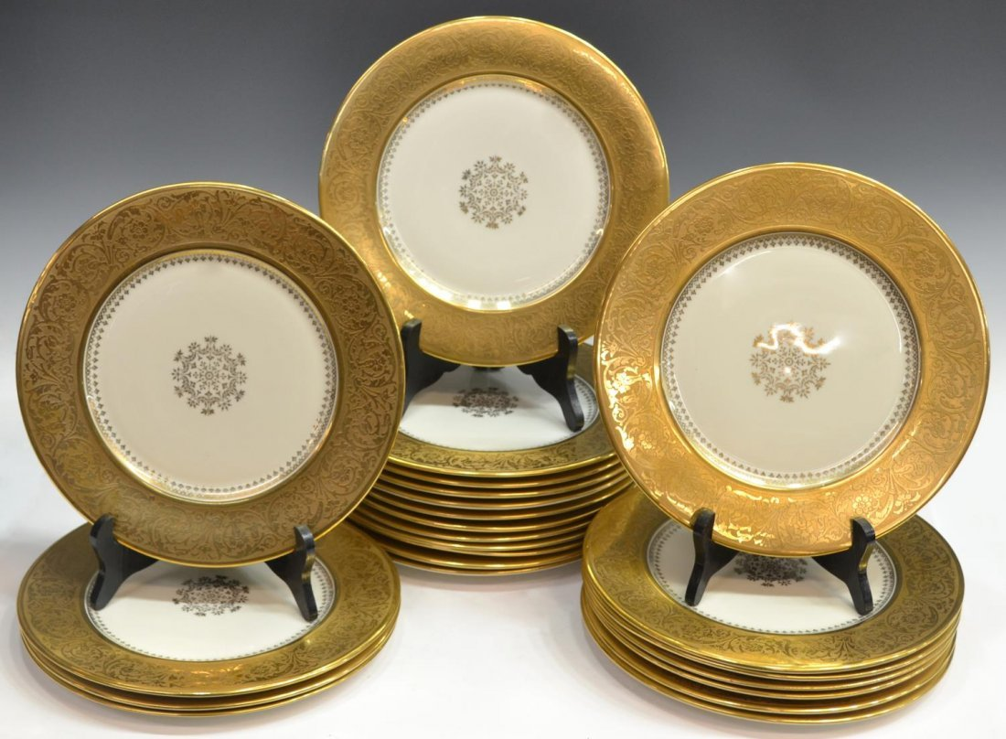 (23) STOUFFER CHINA HEAVILY GILDED SERVICE PLATES