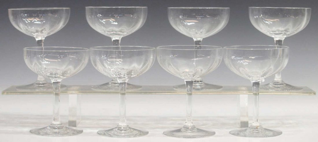 (8) BACCARAT CHAMPAGNE STEMS, MONTAIGNE OPTIC