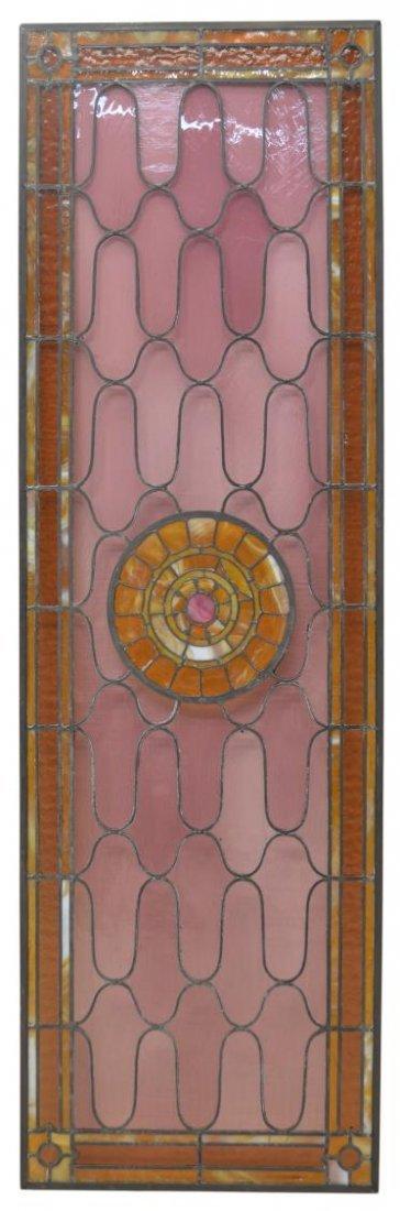 LEADED & SLAG GLASS WINDOW PANEL