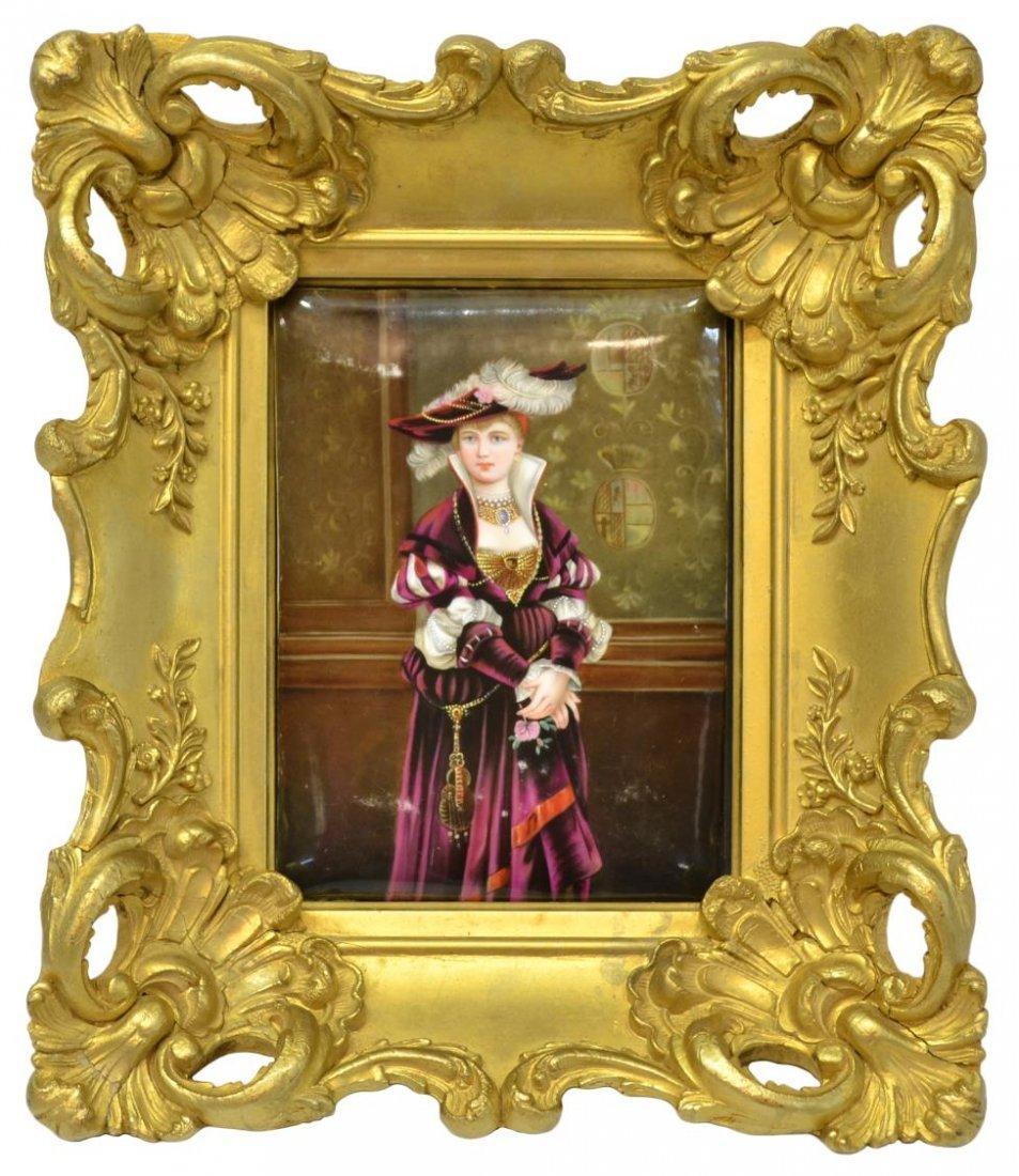CONTINENTAL PORCELAIN PLAQUE, PORTRAIT OF A LADY